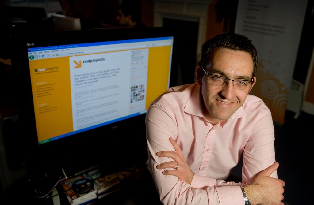 Scott Hewitt of Real Projects, E-learning software in his offices in Norwich.