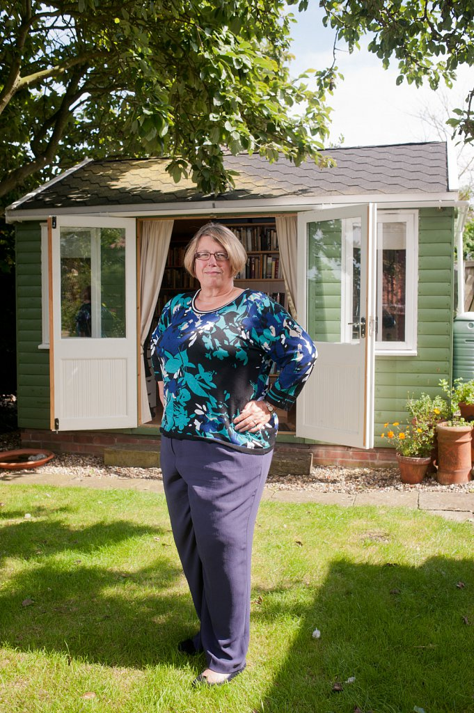 Author Louise Allen & her writing shed.