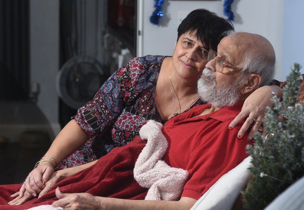 Lee Mangar  with her father David, for whom she is a full-time carer.